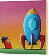 House Builds A Rocketship Wood Print