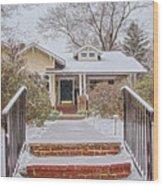 House During Winter Snowfall At Sayen Gardens Wood Print
