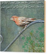 House Finch With Verse Wood Print