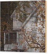 House In Fall Wood Print