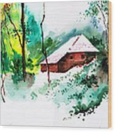 House In Greens 1 Wood Print