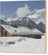 House In The Alps In Winter Wood Print by Matthias Hauser