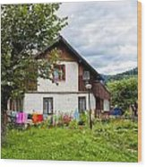 House In The Capathians Village Wood Print