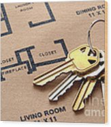 House Keys On Real Estate Housing Floor Plans Wood Print by Olivier Le Queinec