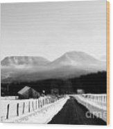 House Mountains Winter Wood Print