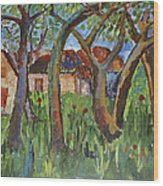 House Near Poppy Field Wood Print
