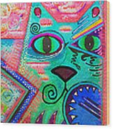 House Of Cats Series - Spike Wood Print by Moon Stumpp