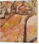House On The Hill Wood Print by Sidney Holmes