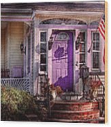 House - Porch - Cranford Nj - Lovely In Lavender  Wood Print