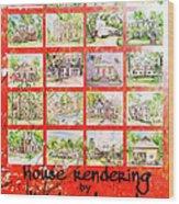 House Rendering Card Wood Print