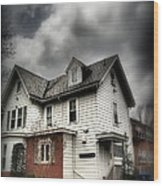 House With Brick Front - American Gothic Wood Print