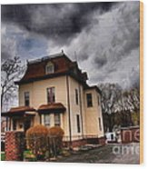 House With Storm Approaching Wood Print