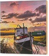 Houseboats On Velator Quay Wood Print
