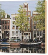 Houses In Amsterdam Wood Print