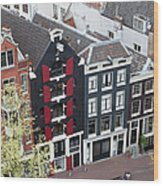 Houses In Amsterdam From Above Wood Print