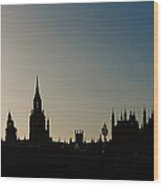 Houses Of Parliament Skyline In Silhouette Wood Print