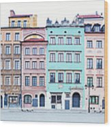 Houses On Old Town Market Place Wood Print