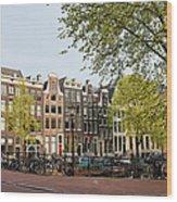 Houses On Singel Canal In Amsterdam Wood Print