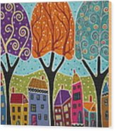 Houses Trees Folk Art Abstract  Wood Print