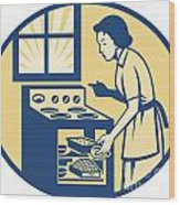 Housewife Baker Baking In Oven Stove Retro Wood Print