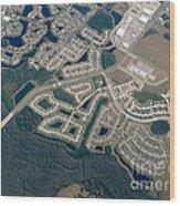 Housing Development Near Wetland Wood Print