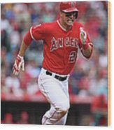 Houston Astros V Los Angeles Angels Of Wood Print