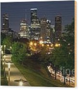 Houston At Night Wood Print
