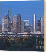 Houston Night Skyline Wood Print