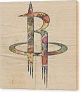 Houston Rockets Logo Art Wood Print