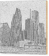 Houston Skyline Abstract Wood Print