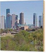 Houston Skyline And Buffalo Bayou Wood Print