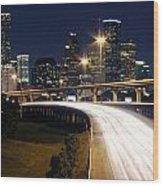 Houston Skyline At Dusk Wood Print