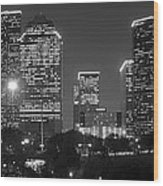 Houston Skyline At Night Black And White Bw Wood Print