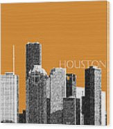 Houston Skyline - Dark Orange Wood Print