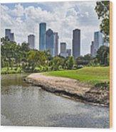 Houston Skyline On The Bayou Wood Print