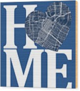 Houston Street Map Home Heart - Houston Texas Road Map In A Hear Wood Print
