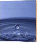 Hovering Blue Water Drop Wood Print