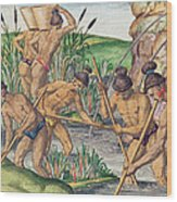 How The Indians Collect Gold From The Streams Wood Print