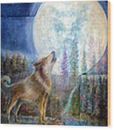 Wolf Howling And Full Moon Wood Print