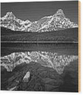 1m3643-bw-howse Peak Mt. Chephren Reflect-bw Wood Print