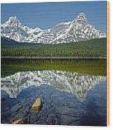 1m3643-howse Peak, Mt. Chephren Reflect Wood Print