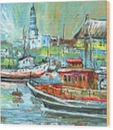 Howth Harbour 01 Wood Print
