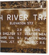 Olympic Hoh River Trail Sign Wood Print
