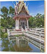 Hua Hin Temple Pond Wood Print