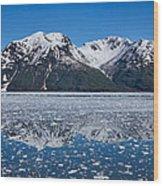 Hubbard Glacier Mountain Reflection Wood Print
