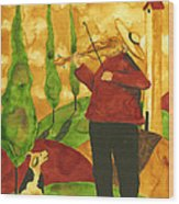 Hubbs Art Folk Prints Whimsical Animal Dogs Pet Music Instrument Fiddler Violin Wood Print