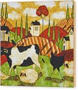 Hubbs Children Art Folk Prints Farm Animals Cow Sheep Goose Chicken Hen Bird Wood Print
