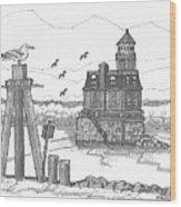 Hudson-athens Lighthouse Wood Print