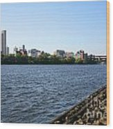 Hudson River And Albany Skyline Wood Print
