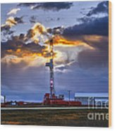 Sunset Over The Oil Rigs Wood Print